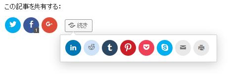 SNS共有ボタンの『続き』ボタンを押したイメージ