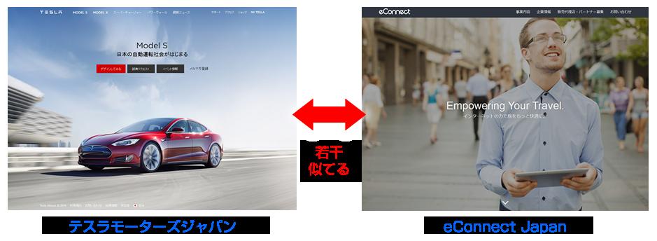テスラモーターズジャパンとeConnect Japanのページが若干似てる