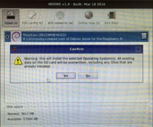 NOOBSのインストールで警告表示