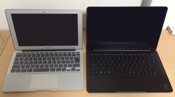 Macbook Air 11とRazer Blade Stealthのオープン時比較