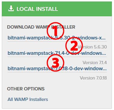 Bitnami WAMP Stack バージョンがいっぱい