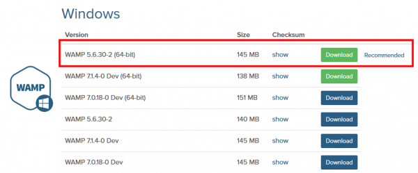 Bitnami WAMP Stack 推奨バージョンのダウンロード