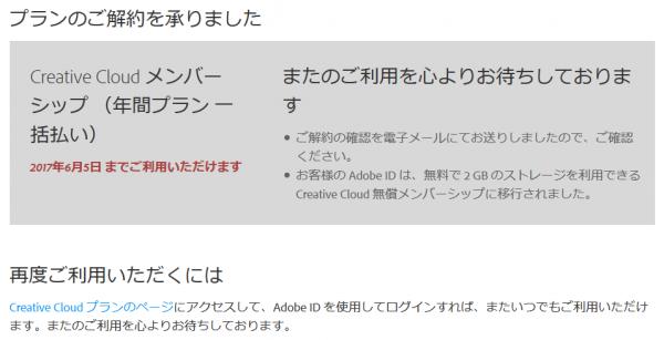 Adobe CC 解約後のメッセージ