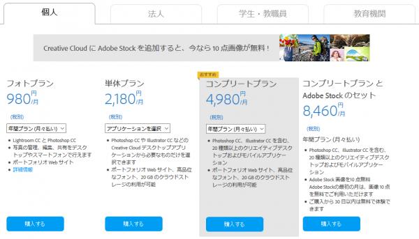 Adobe CC 料金プラン(個人・月額)