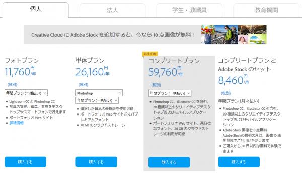 Adobe CC 料金プラン(個人・年額)