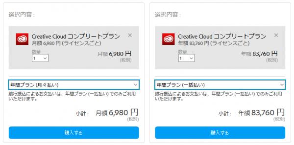 Adobe CC 料金プラン(法人・月額/年額)