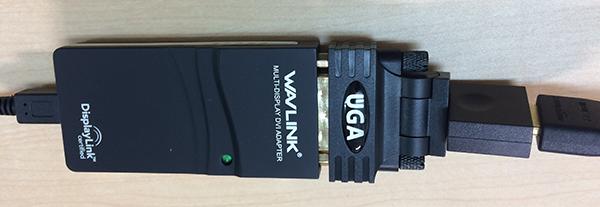 USBディスプレイアダプタの接続状態