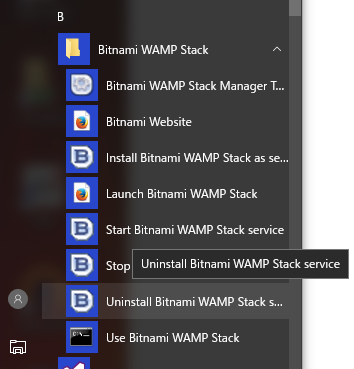 Uninstall Bitnami Stack service