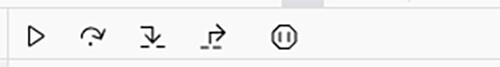 Firefoxデバッガー:ステップ実行操作ボタン