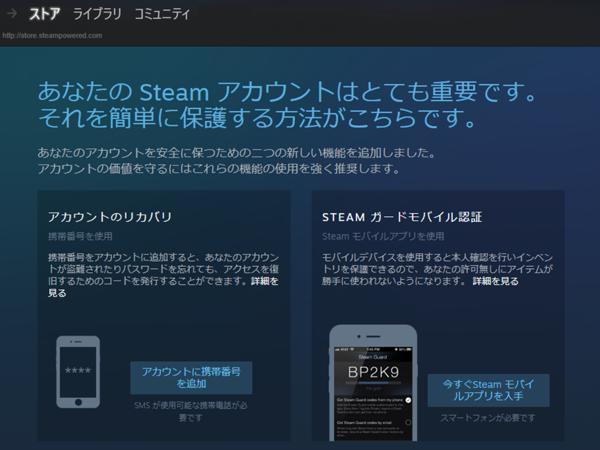 Steamストアセキュリティ説明画面