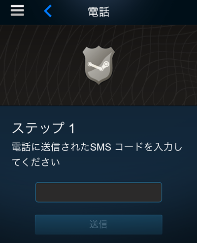 Steamガードコード入力画面