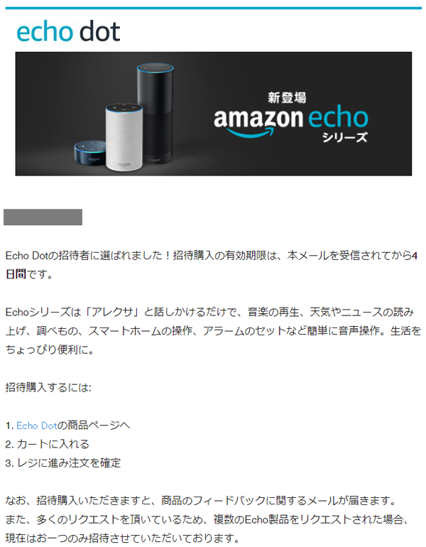Amazon Echo 招待メール