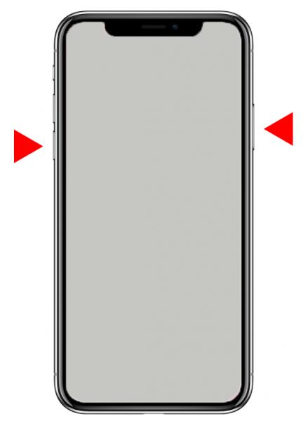 iPhoneの電源の切り方(サイドボタンと音量小長押し)