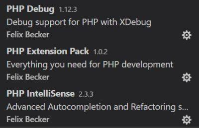 VSCode PHPパッケージでインストールされる拡張機能