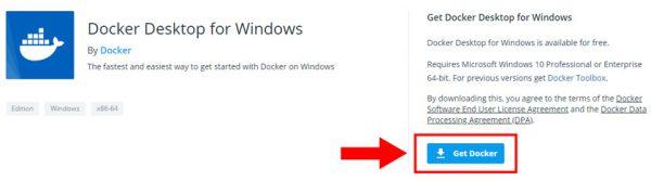 Docker for Windowsダウンロードリンク