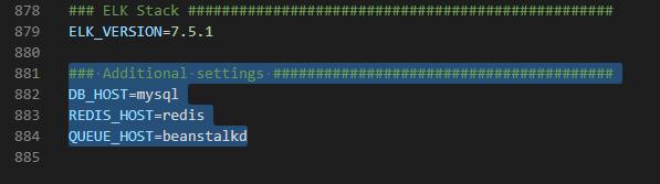 Laradock .envファイルの追加項目