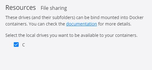 Dockerのファイル共有設定がいけた!