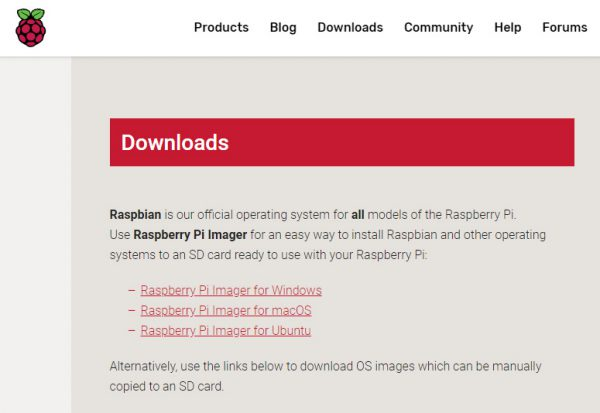 Raspberry Pi Imager Downloadページ