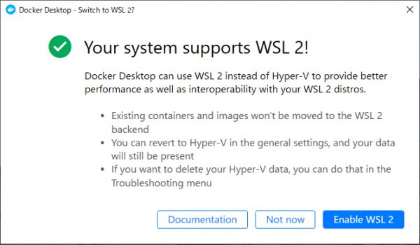 Your system supports WSL 2!