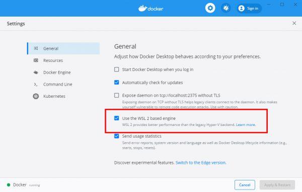 Docker Desktop for Windows Settingsから「Use the WSL 2 based engine」を選択する