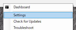 Docker Desktop for Windows - Settingsを選択