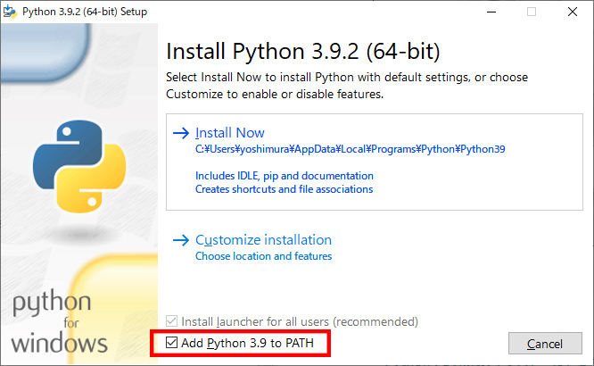 Add Python 3.9 to PATH