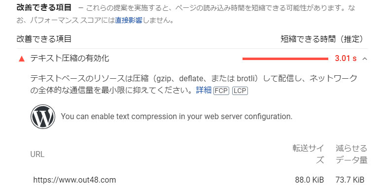 PageSpeed Insights テキスト圧縮の有効化